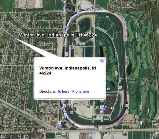 Map - Winton Avenue relative to the Indianapolis Motor Speedway